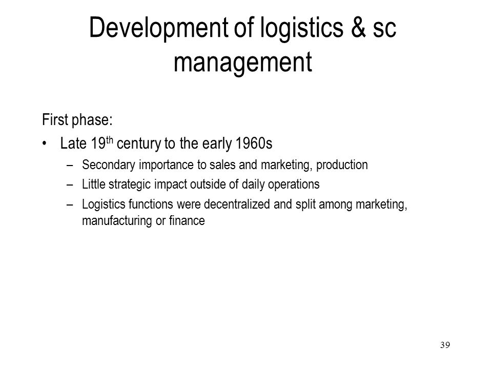 Development of logistics & sc management