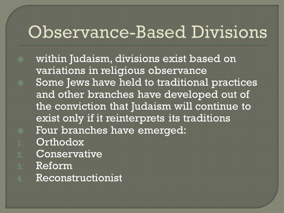 Observance-Based Divisions
