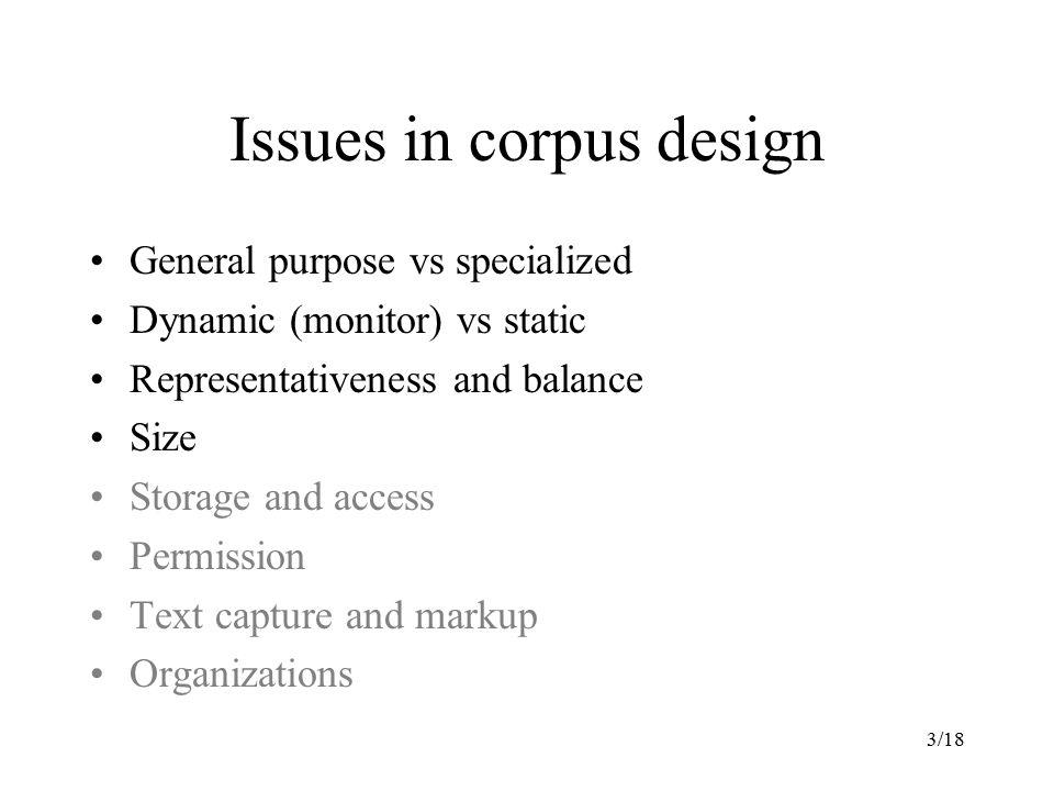 Issues in corpus design