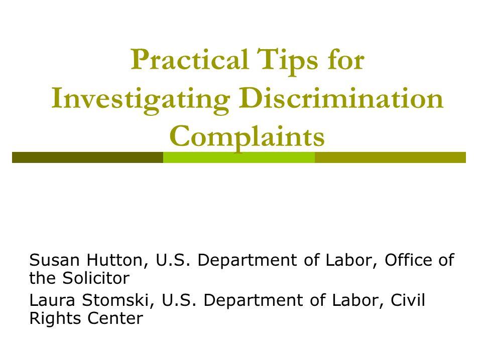 Practical Tips for Investigating Discrimination Complaints
