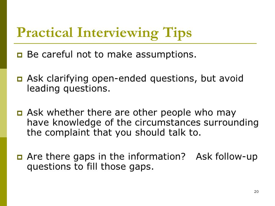 Practical Interviewing Tips