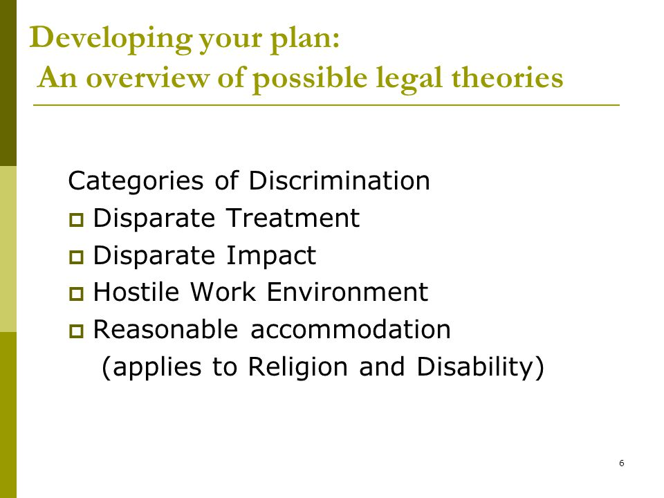 Developing your plan: An overview of possible legal theories