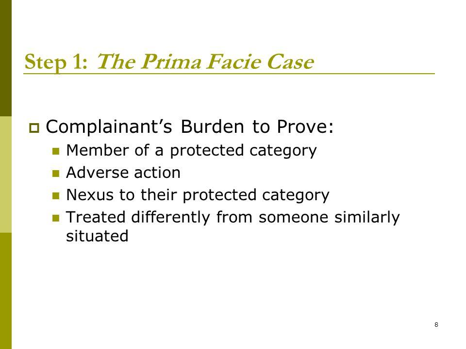 Step 1: The Prima Facie Case