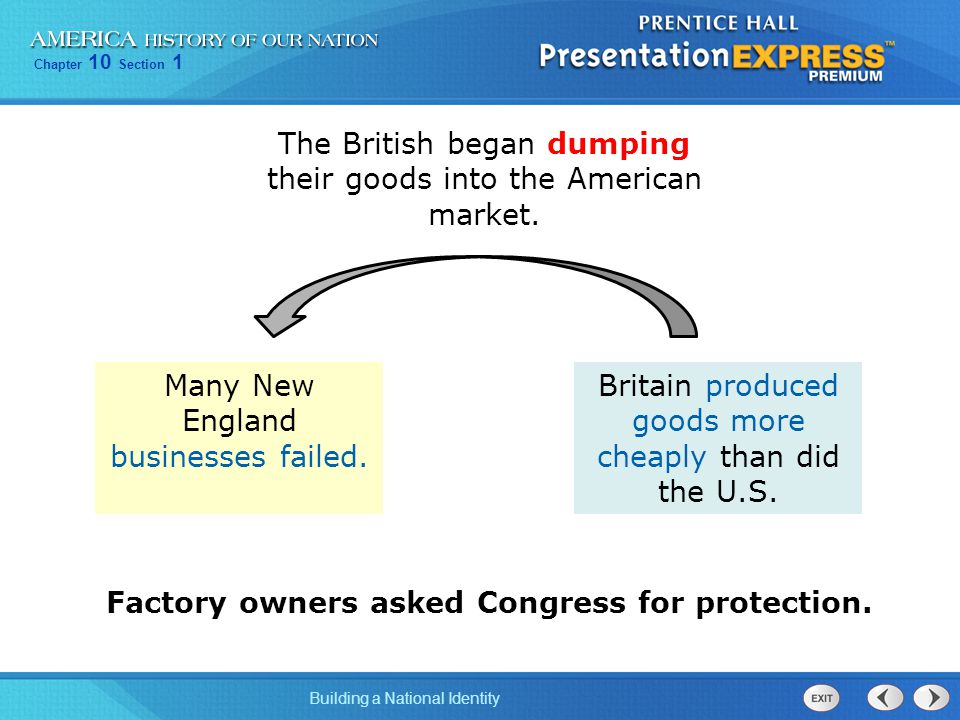 The British began dumping their goods into the American market.