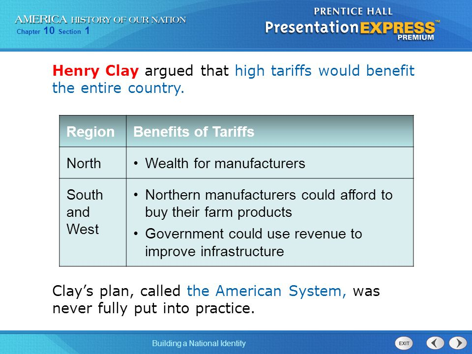 Henry Clay argued that high tariffs would benefit the entire country.