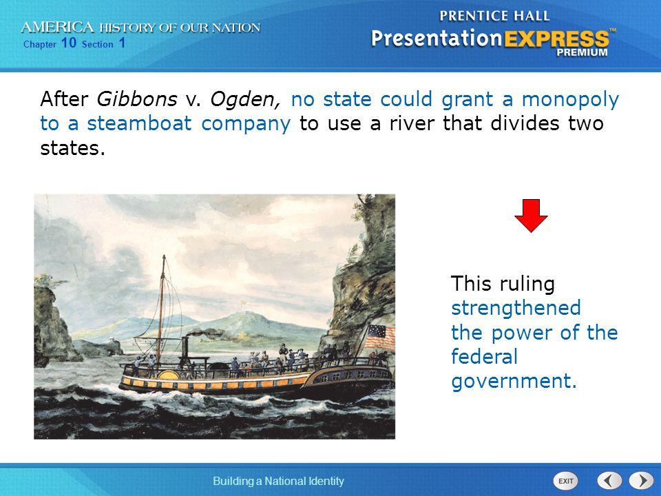 After Gibbons v. Ogden, no state could grant a monopoly to a steamboat company to use a river that divides two states.