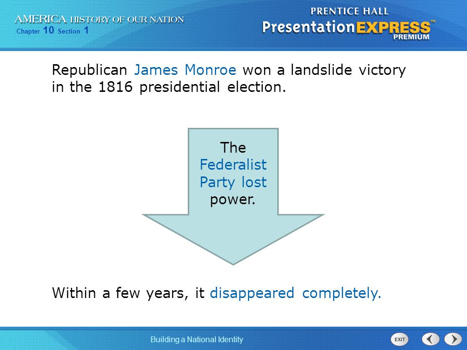 The Federalist Party lost power.