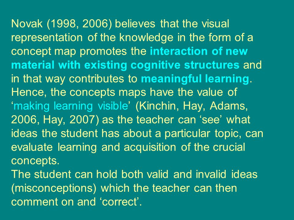 Novak (1998, 2006) believes that the visual representation of the knowledge in the form of a concept map promotes the interaction of new material with existing cognitive structures and in that way contributes to meaningful learning.