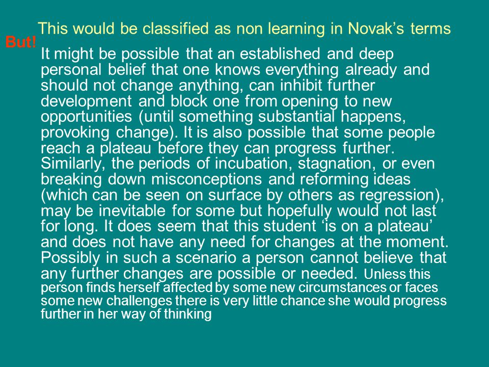 This would be classified as non learning in Novak's terms