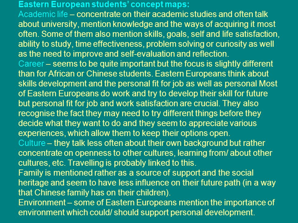 Eastern European students' concept maps: Academic life – concentrate on their academic studies and often talk about university, mention knowledge and the ways of acquiring it most often.