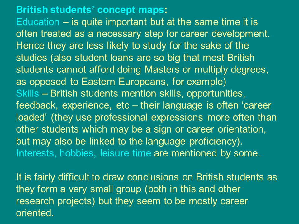 British students' concept maps: Education – is quite important but at the same time it is often treated as a necessary step for career development.