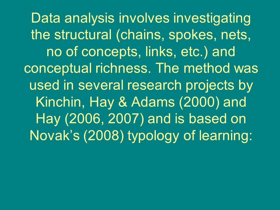 Data analysis involves investigating the structural (chains, spokes, nets, no of concepts, links, etc.) and conceptual richness.