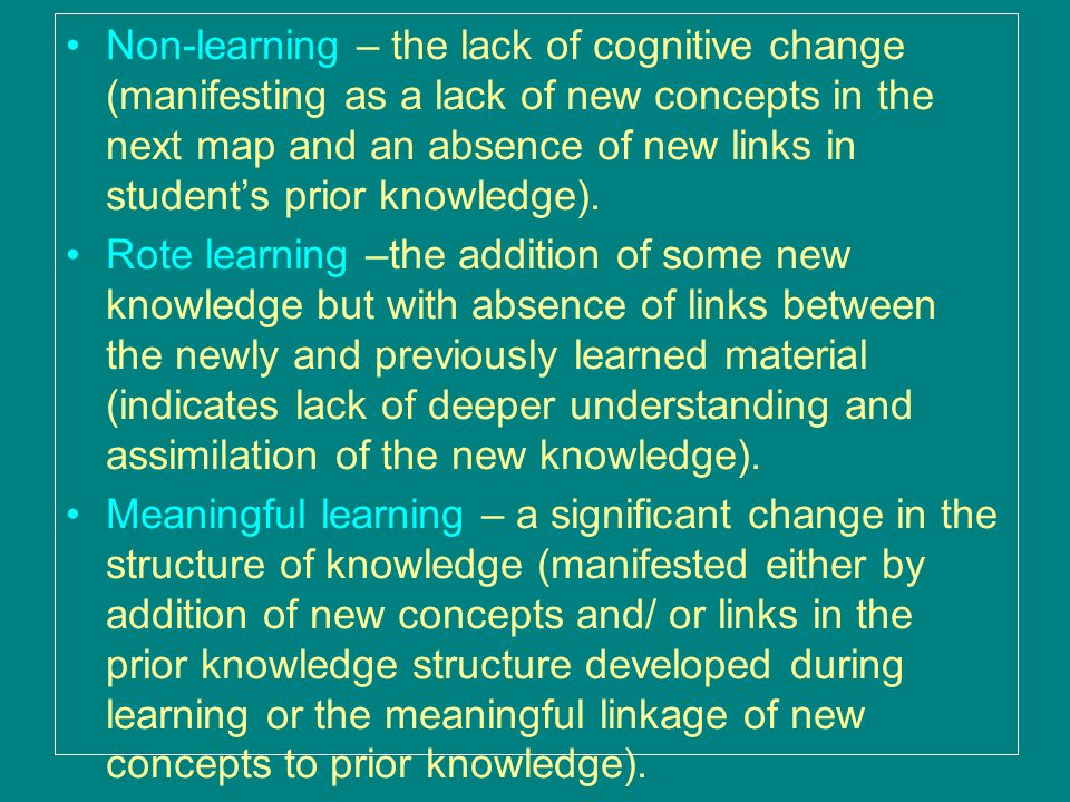 Non-learning – the lack of cognitive change (manifesting as a lack of new concepts in the next map and an absence of new links in student's prior knowledge).