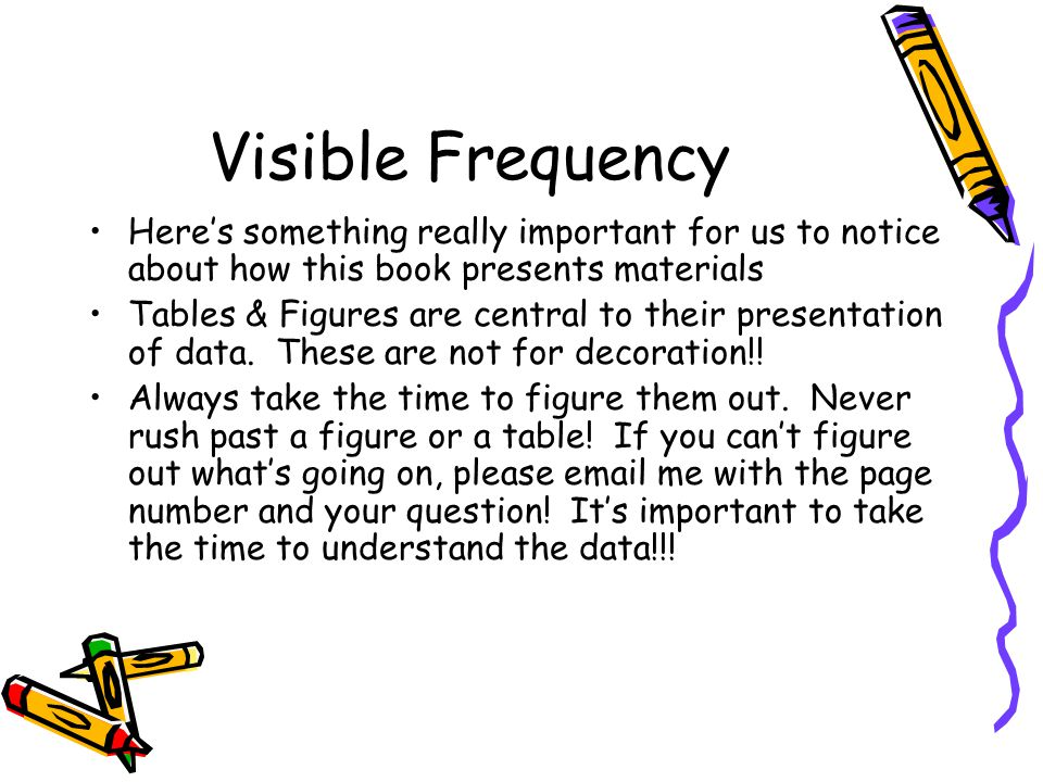 Visible Frequency Here's something really important for us to notice about how this book presents materials.