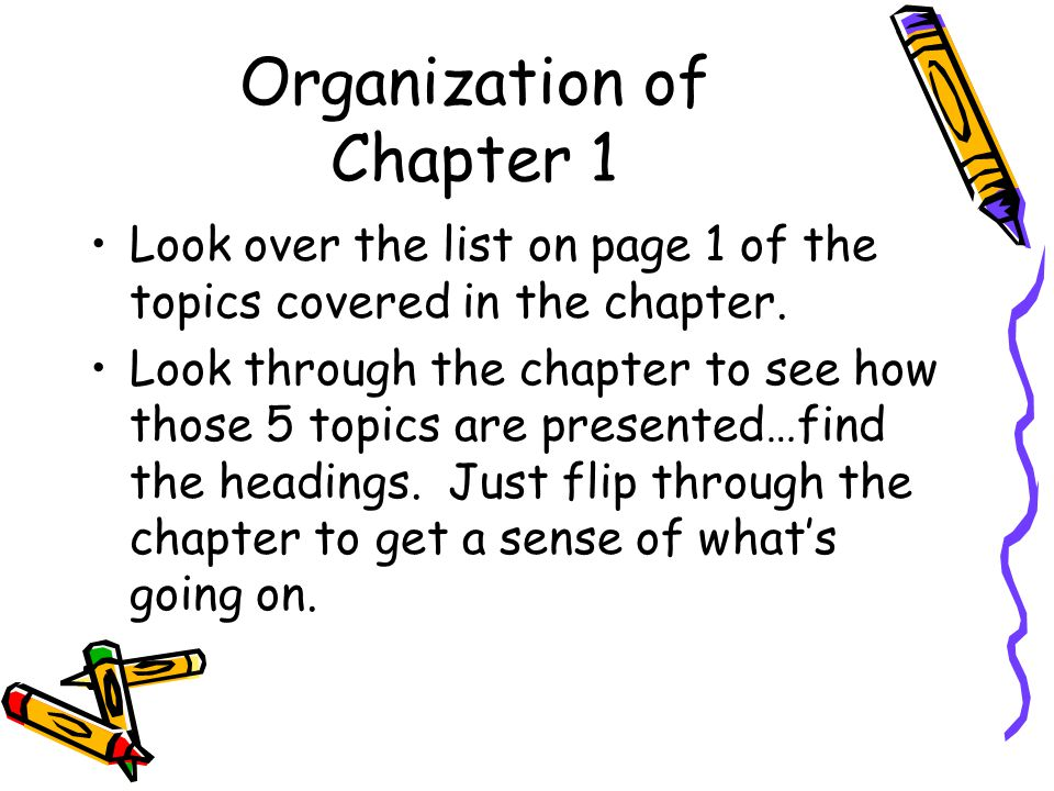Organization of Chapter 1