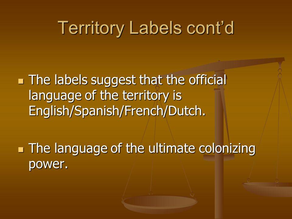 Territory Labels cont'd