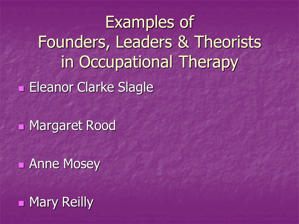 Examples of Founders, Leaders & Theorists in Occupational Therapy