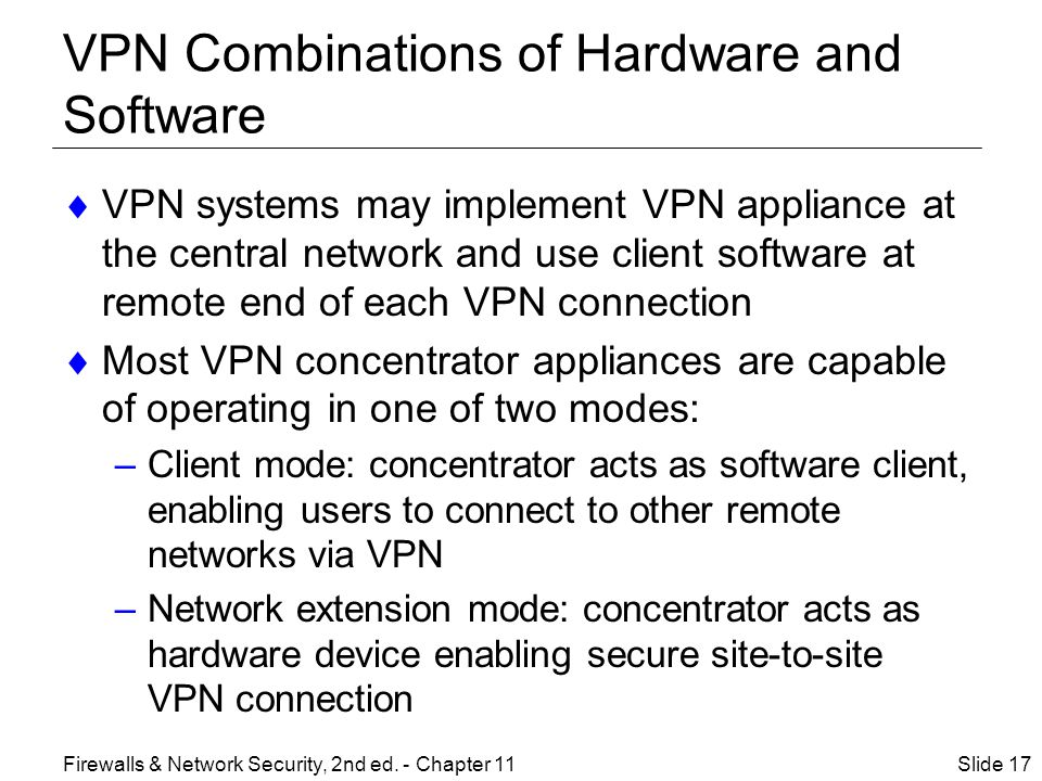 VPN Combinations of Hardware and Software