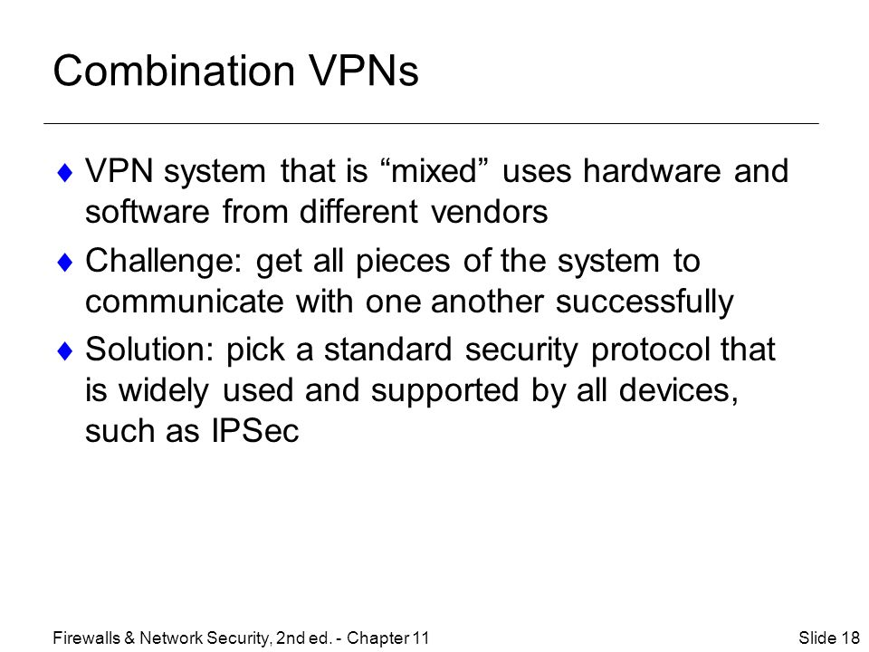 Combination VPNs VPN system that is mixed uses hardware and software from different vendors.