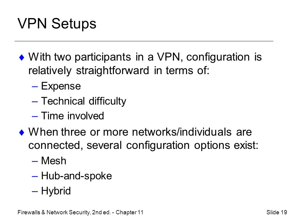 VPN Setups With two participants in a VPN, configuration is relatively straightforward in terms of: