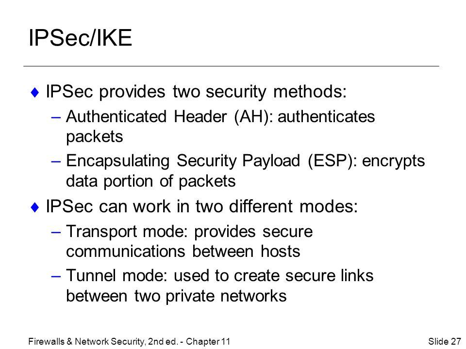 IPSec/IKE IPSec provides two security methods: