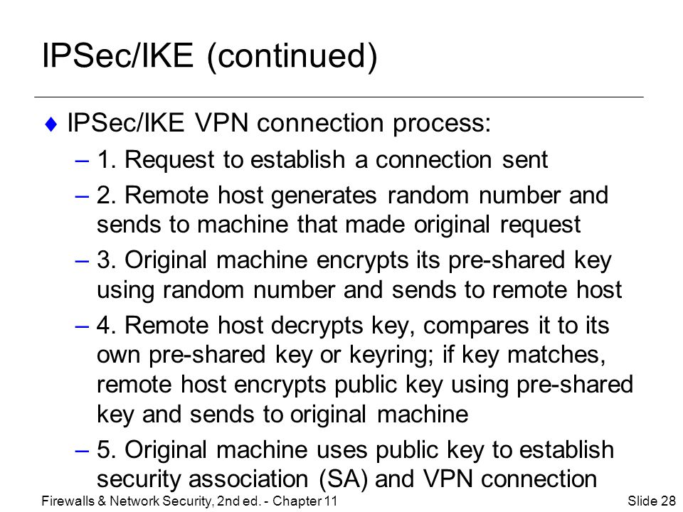 IPSec/IKE (continued)