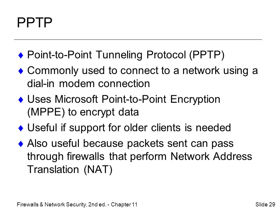 PPTP Point-to-Point Tunneling Protocol (PPTP)