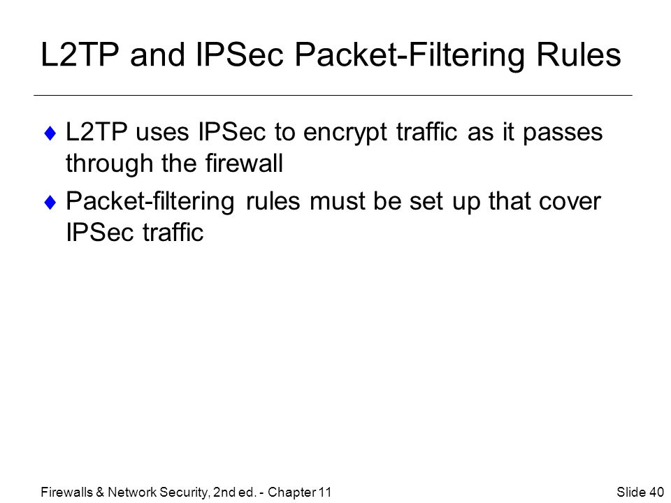 L2TP and IPSec Packet-Filtering Rules