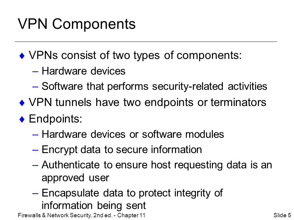 VPN Components VPNs consist of two types of components: