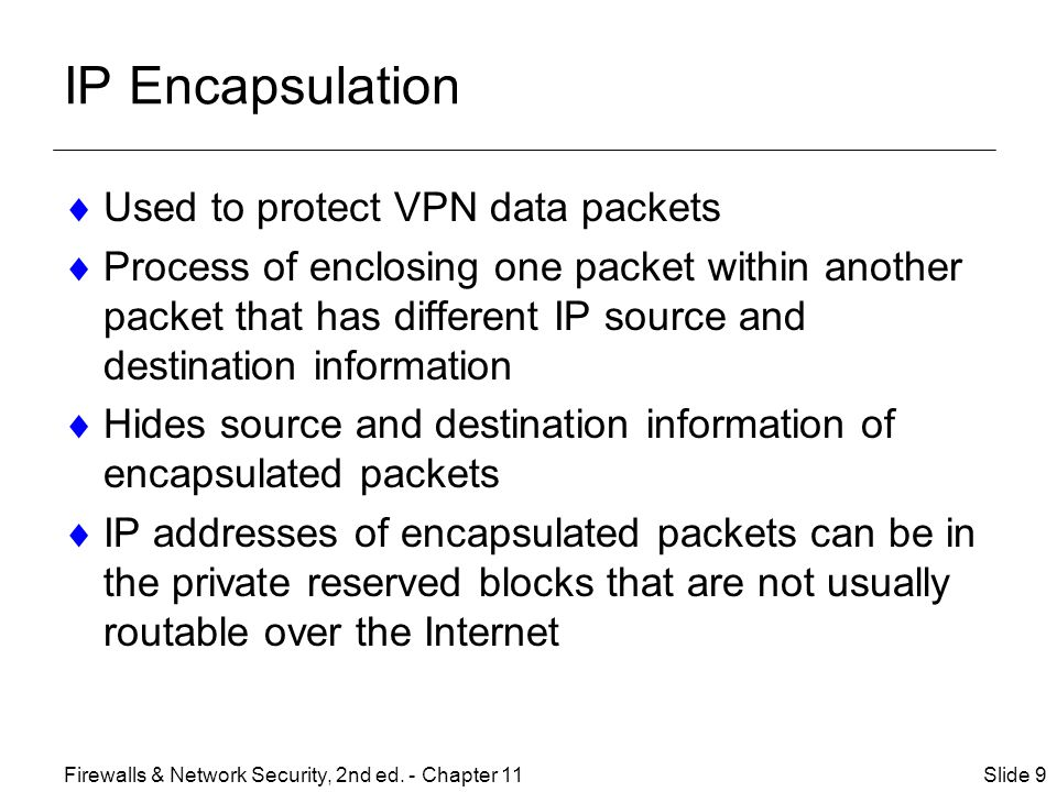 IP Encapsulation Used to protect VPN data packets