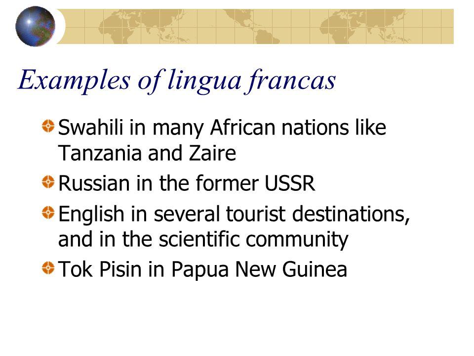 Examples of lingua francas