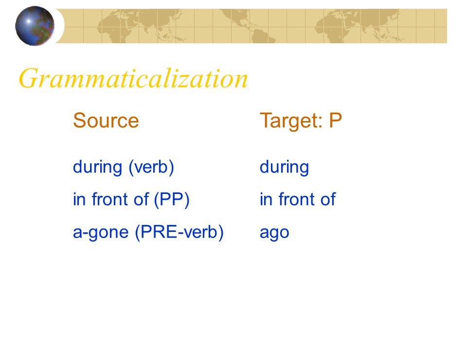 Grammaticalization Source Target: P during (verb) during