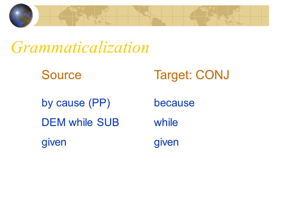 Grammaticalization Source Target: CONJ by cause (PP) because