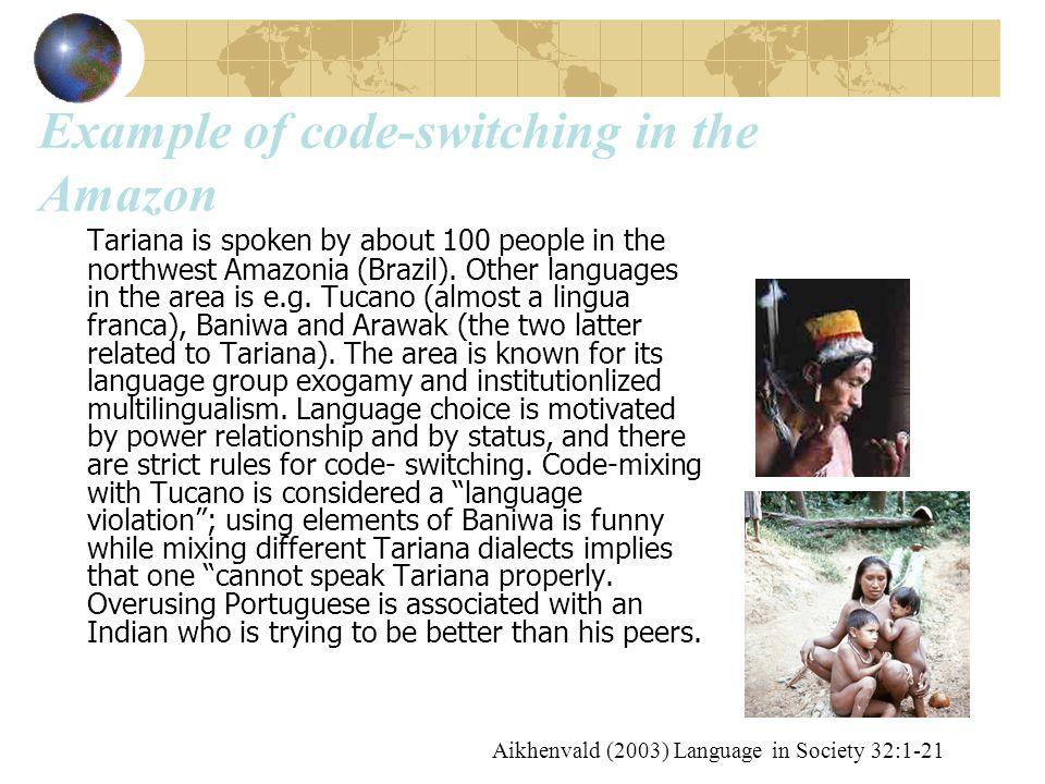 Example of code-switching in the Amazon