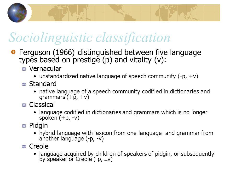 Sociolinguistic classification