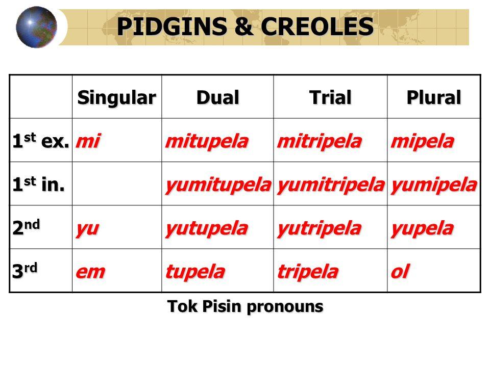 PIDGINS & CREOLES Singular Dual Trial Plural 1st ex. mi mitupela