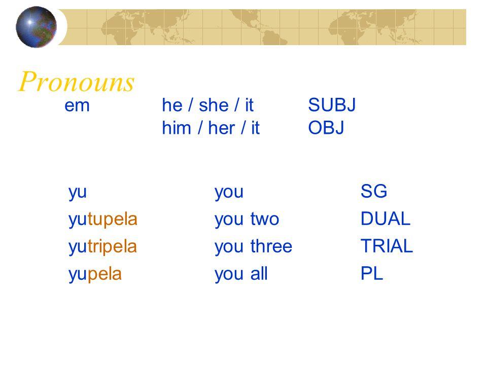 Pronouns em he / she / it SUBJ him / her / it OBJ yu you SG