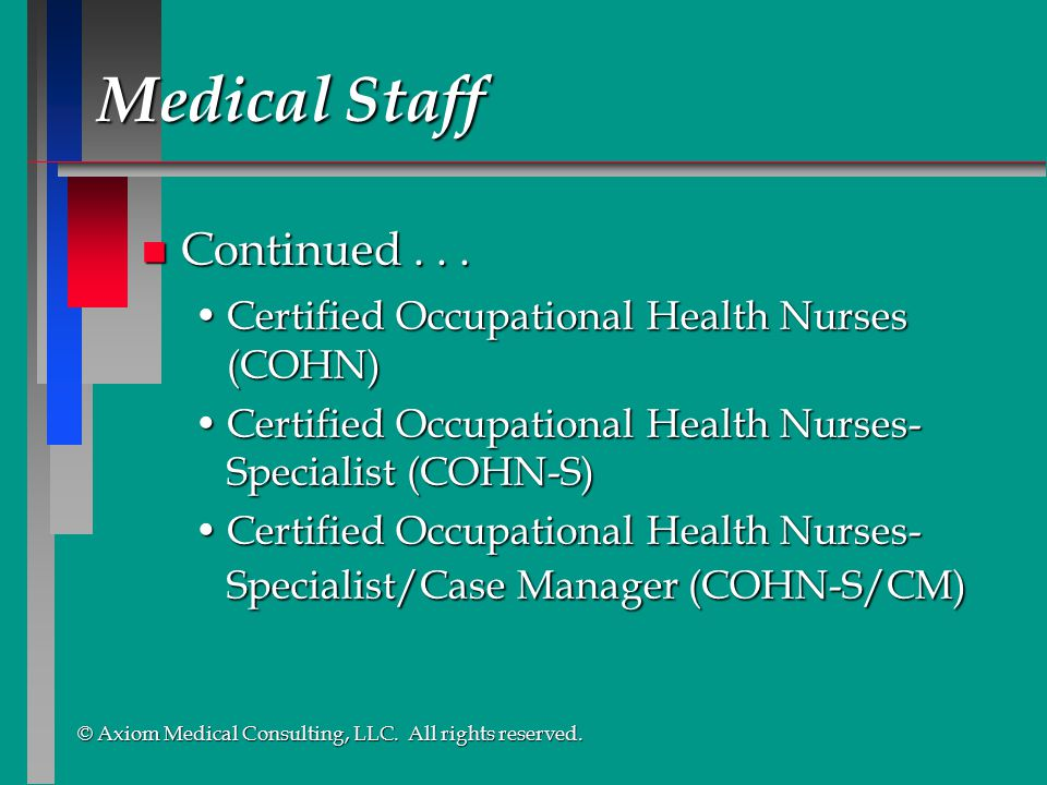 Medical Staff Continued . . .