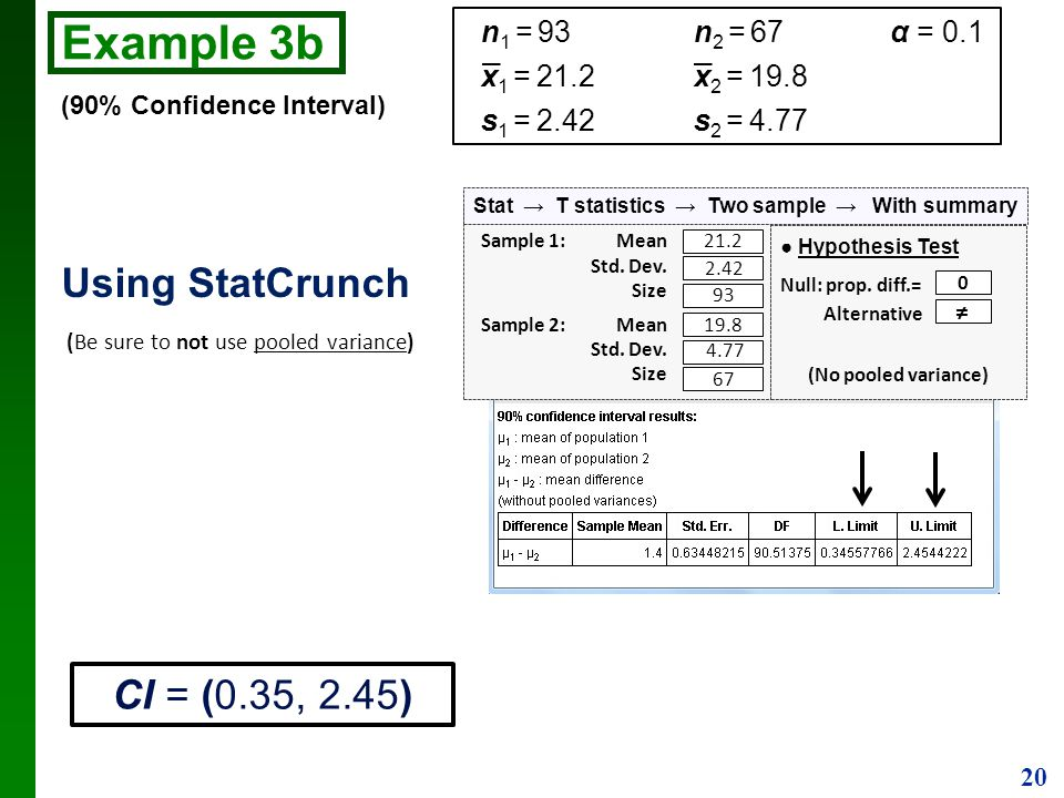 Stat → T statistics → Two sample → With summary