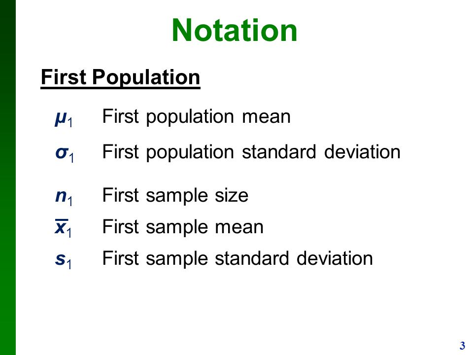 Notation First Population μ1 First population mean