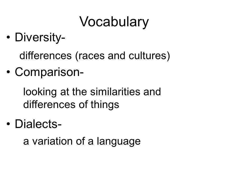Vocabulary Diversity- Comparison- Dialects-
