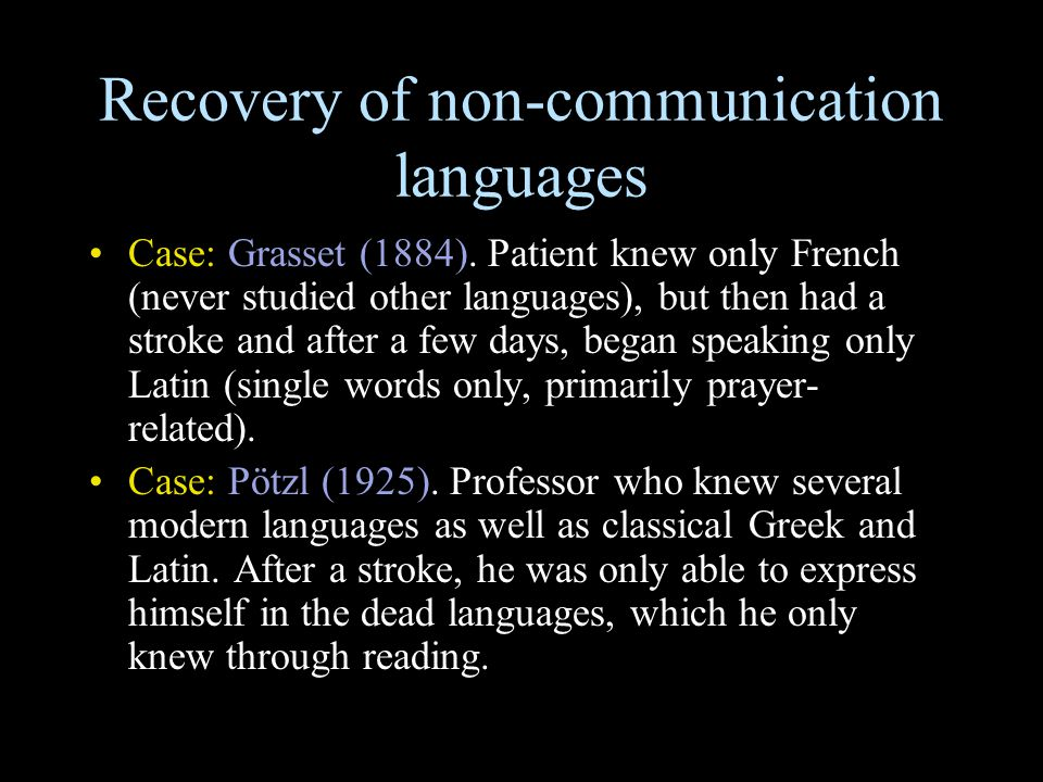 Recovery of non-communication languages