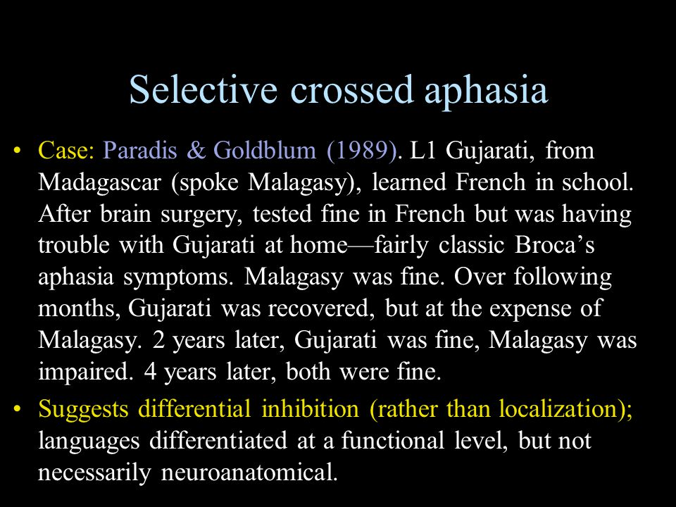 Selective crossed aphasia