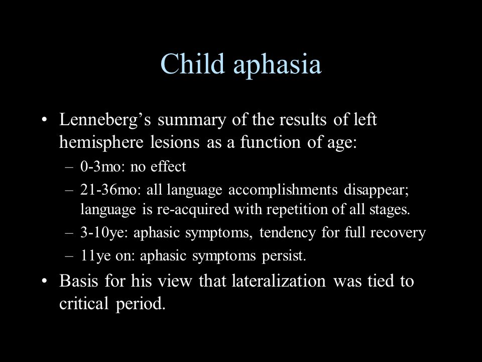 Child aphasia Lenneberg's summary of the results of left hemisphere lesions as a function of age: 0-3mo: no effect.
