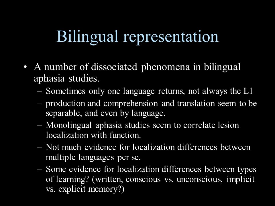 Bilingual representation