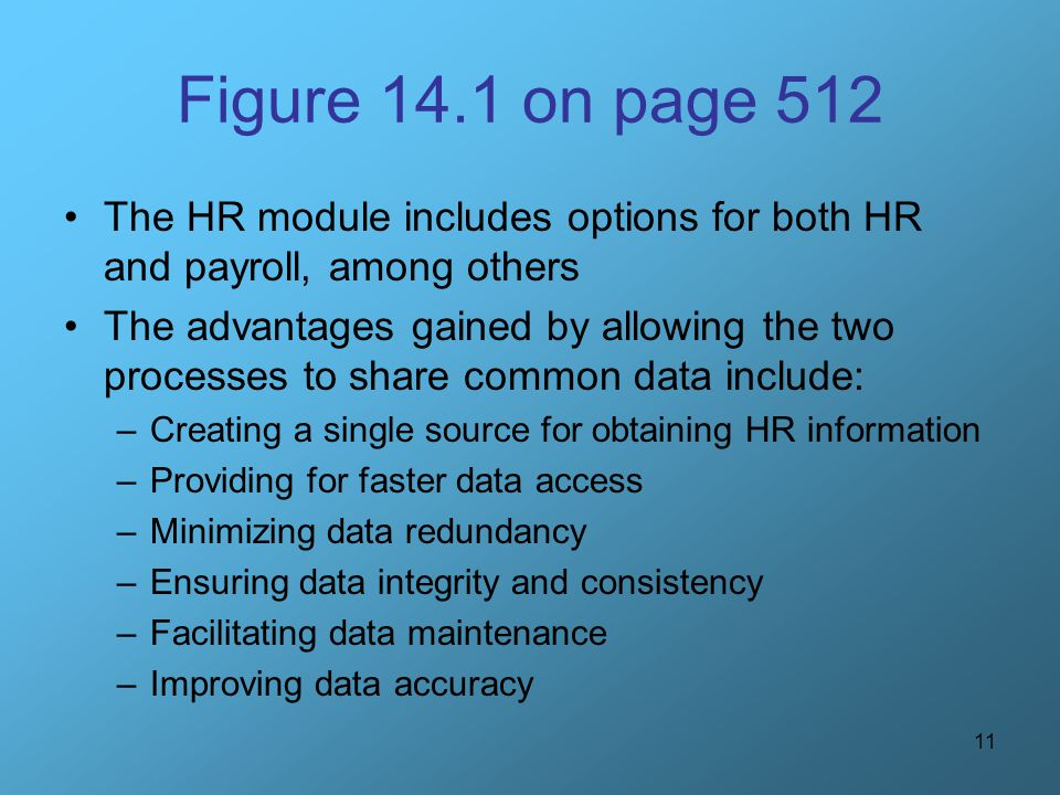 Figure 14.1 on page 512 The HR module includes options for both HR and payroll, among others.