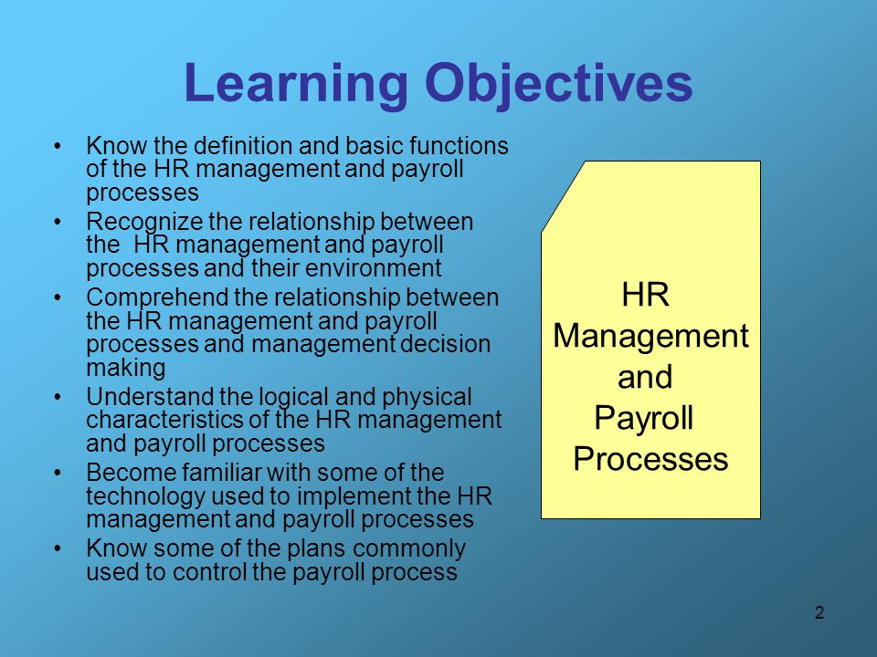 Learning Objectives HR Management and Payroll Processes