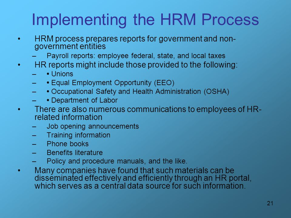 Implementing the HRM Process