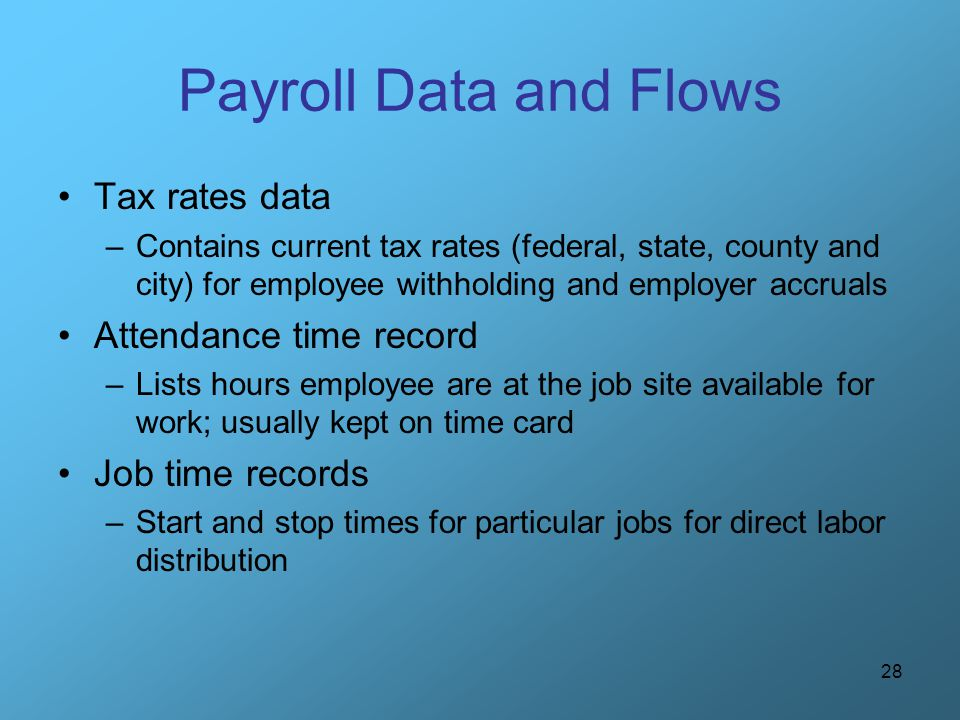 Payroll Data and Flows Tax rates data Attendance time record