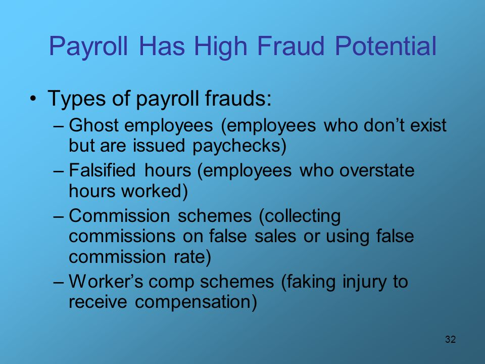Payroll Has High Fraud Potential